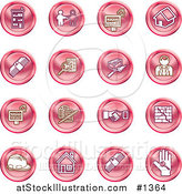 Vector Illustration of Red Icons: Apartments, Handshake, Real Estate, House, Money, Classifieds, Brick Laying, Businessman, Hardhat and a Key by AtStockIllustration
