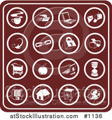 Vector Illustration of Red Icons Including Java, Email, Laptop, Mailbox, Links, Padlock, Printer, Shopping Cart, Apple, Computer, Hourglass, Floppy Disc, Home, Camera and Globe by AtStockIllustration