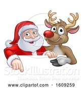 Vector Illustration of Red Nosed Christmas Reindeer and Santa Claus over a Sign by AtStockIllustration