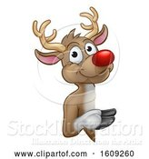 Vector Illustration of Red Nosed Christmas Reindeer Looking Around a Sign by AtStockIllustration