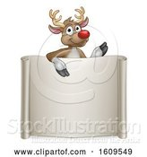 Vector Illustration of Red Nosed Christmas Reindeer over a Blank Scroll Sign by AtStockIllustration