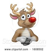 Vector Illustration of Red Nosed Christmas Reindeer over a Sign by AtStockIllustration