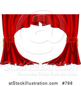 Vector Illustration of Red Velvet Theatre Curtains Swept to the Side by AtStockIllustration