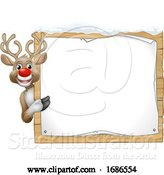 Vector Illustration of Reindeer Christmas Sign by AtStockIllustration