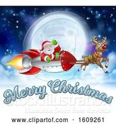Vector Illustration of Reindeer Flying with Santa in a Rocket Against a Full Moon with Merry Christmas Text by AtStockIllustration