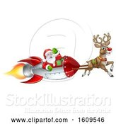 Vector Illustration of Reindeer Flying with Santa in a Rocket by AtStockIllustration