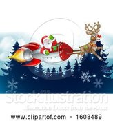 Vector Illustration of Reindeer Flying with Santa in a Rocket over Evergreens with Snowflakes by AtStockIllustration