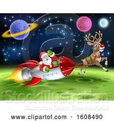 Vector Illustration of Reindeer Flying with Santa in a Rocket over in Outer Space by AtStockIllustration