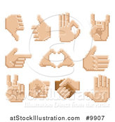 Vector Illustration of Retro 8 Bit Pixel Art Styled Hands by AtStockIllustration