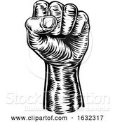 Vector Illustration of Revolution Hand Fist Raised Air Propaganda by AtStockIllustration