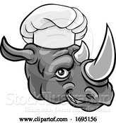 Vector Illustration of Rhino Chef Mascot Character by AtStockIllustration