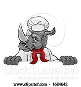 Vector Illustration of Rhino Chef Mascot Sign Character by AtStockIllustration