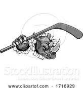 Vector Illustration of Rhino Ice Hockey Player Animal Sports Mascot by AtStockIllustration