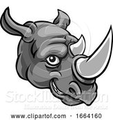 Vector Illustration of Rhino Mascot Cute Happy Character by AtStockIllustration