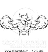 Vector Illustration of Rhino Mascot Weight Lifting Barbell Body Builder by AtStockIllustration