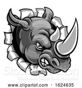 Vector Illustration of Rhino Mean Angry Sports Mascot Breaking Background by AtStockIllustration