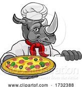 Vector Illustration of Rhino Pizza Chef Restaurant Mascot Sign by AtStockIllustration