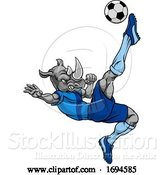 Vector Illustration of Rhino Soccer Football Player Animal Sports Mascot by AtStockIllustration