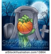 Vector Illustration of Rising Zombie Hand Holding a Basketball in a Cemetery by AtStockIllustration