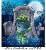 Vector Illustration of Rising Zombie Hand Holding a Bowling Ball in a Cemetery by AtStockIllustration