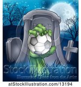 Vector Illustration of Rising Zombie Hand Holding a Soccer Ball in a Cemetery by AtStockIllustration