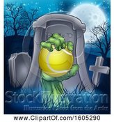 Vector Illustration of Rising Zombie Hand Holding a Tennis Ball in a Cemetery by AtStockIllustration