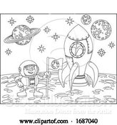 Vector Illustration of Rocket Astronaut and Planets Space Scene by AtStockIllustration