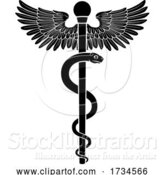 Vector Illustration of Rod of Asclepius Doctor Medical Symbol by AtStockIllustration
