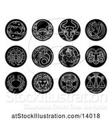 Vector Illustration of Round Black and White Zodiac Astrology Horoscope Star Signs by AtStockIllustration