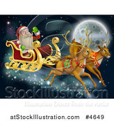 Vector Illustration of Rudolph and Another Reindeer Leading Santas Christmas Sleigh over a Full Moon by AtStockIllustration