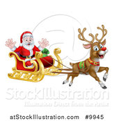 Vector Illustration of Rudolph the Red Nosed Reindeer Flying Santa in a Sleigh by AtStockIllustration