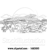 Vector Illustration of Safari Animal Background Landscape Scene by AtStockIllustration