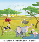 Vector Illustration of Safari Animals at a Watering Hole by AtStockIllustration