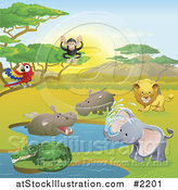 Vector Illustration of Safari Animals in a Watering Hole by AtStockIllustration