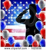 Vector Illustration of Saluting Soldier American Flag Balloon Background by AtStockIllustration