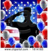 Vector Illustration of Saluting Soldier American Flag Balloon Design by AtStockIllustration
