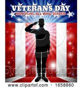 Vector Illustration of Saluting Soldier Patriotic Veterans Day Design by AtStockIllustration