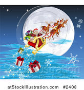 Vector Illustration of Santa and His Reindeer Flying Against a Full Moon and Dropping Christmas Gifts by AtStockIllustration