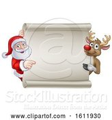 Vector Illustration of Santa and Reindeer Christmas Sign by AtStockIllustration