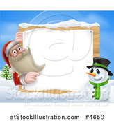 Vector Illustration of Santa Claus and a Snowman by a Sign in the Snow by AtStockIllustration