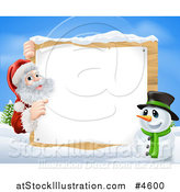 Vector Illustration of Santa Claus and a Snowman by a Winter Sign by AtStockIllustration