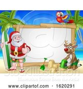 Vector Illustration of Santa Claus and Reindeer Christmas Beach Sign by AtStockIllustration