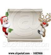 Vector Illustration of Santa Claus and Reindeer Christmas Scroll Sign by AtStockIllustration