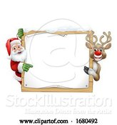 Vector Illustration of Santa Claus and Reindeer Christmas Sign by AtStockIllustration