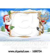 Vector Illustration of Santa Claus and Reindeer Christmas Snow Scene Sign by AtStockIllustration