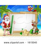 Vector Illustration of Santa Claus and Reindeer Surf Beach Christmas Sign by AtStockIllustration