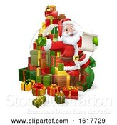 Vector Illustration of Santa Claus Checking Christmas Gift List by AtStockIllustration