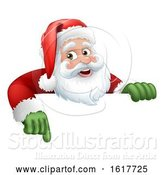 Vector Illustration of Santa Claus Christmas Character over a Sign by AtStockIllustration