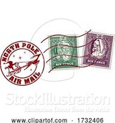 Vector Illustration of Santa Claus Christmas Postage Letter Post Stamp by AtStockIllustration