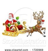 Vector Illustration of Santa Claus Christmas Reindeer Sleigh Sled by AtStockIllustration